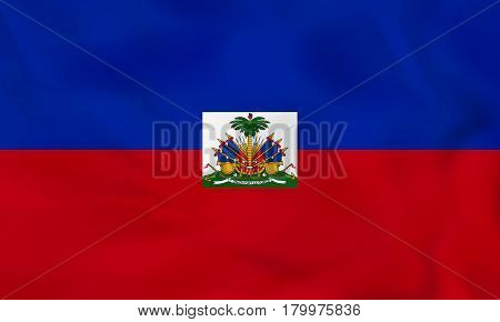 Haiti Waving Flag. Haiti National Flag Background Texture.