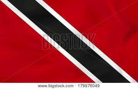 Trinidad And Tobago Waving Flag. Trinidad And Tobago National Flag Background Texture.