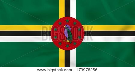 Dominica Waving Flag. Dominica National Flag Background Texture.