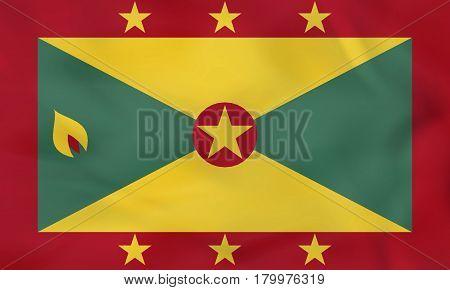 Grenada Waving Flag. Grenada National Flag Background Texture.