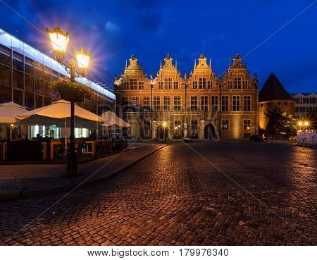 Ancient architecture in Gdansk Poland in the evening. Europe.