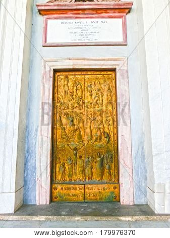 Rome, Italy - September 10, 2015: The door of the Basilica of Saint Paul, one of Rome's four ancient major basilicas or papal basilicas, Rome Italy on September 10, 2015