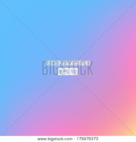 Blue, pink, yellow blur gradient. Vector eps10 Holographic background