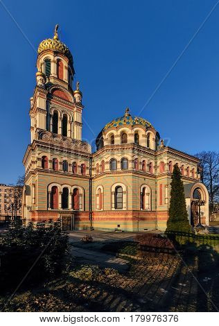 Orthodox Alexander Nevsky Cathedral in Lodz Poland in afternoon