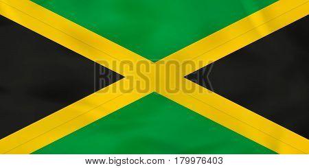 Jamaica Waving Flag. Jamaica National Flag Background Texture.