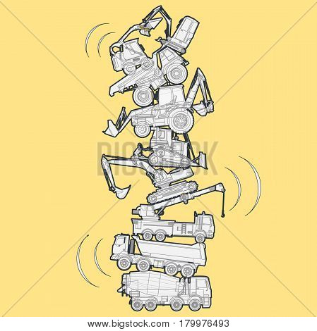 Tower assembled from building machines - truck, digger, crane, bagger. Construction machinery outlined set on yellow, ground works. Machine vehicles, excavator. Build equipment. Vector illustration.
