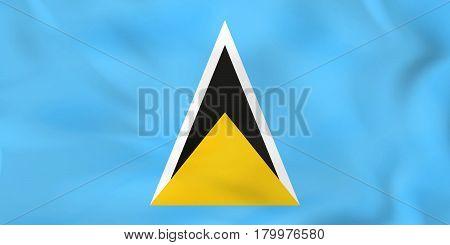 Saint Lucia Waving Flag. Saint Lucia National Flag Background Texture.