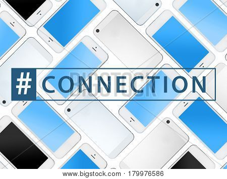 smart phones with hashtag connection sign social networks