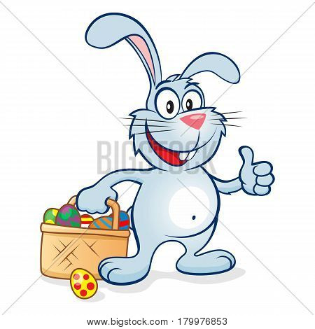 Cute and happy easter bunny giving thumbs up with a basket full of eggs. Blue rabbit vector illustration