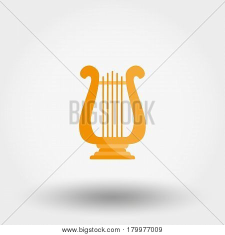 Harp. Icon for web and mobile application. Vector illustration on a white background. Flat design style