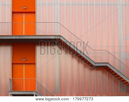 Modern Orange Fire Escape Stairs