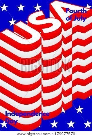 Fourth of July, USA Independence Day modern poster. Vector, isolated, eps 10