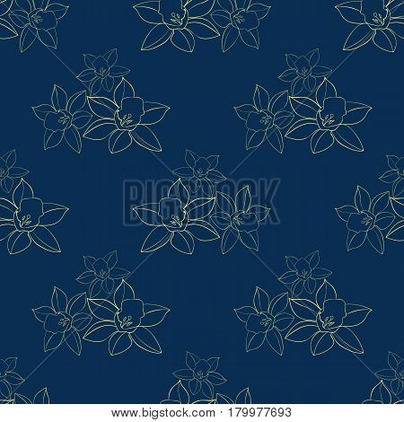 Seamless Vector floral pattern with daffodil flowers contour. Daffodil narcissus flowers. Fashion style for prints, silk textile, cushion pillow, kerchief. Texture for clothes, bedclothes