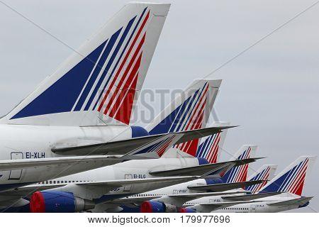DOMODEDOVO, MOSCOW REGION, RUSSIA - NOVEMBER 11, 2012: Transaero Boeing 747 parked at Domodedovo international airport.