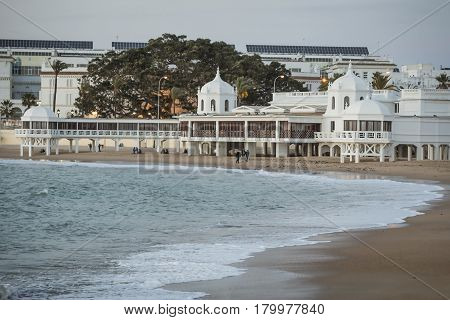 Caleta beach in the middle of the old city is the most popular of the beaches of Cadiz Andalusia Spain