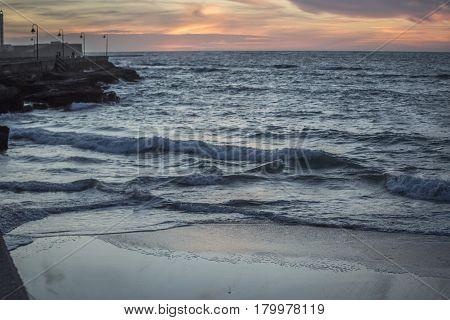 dark Sunset on Caleta Beach Cadiz Spain