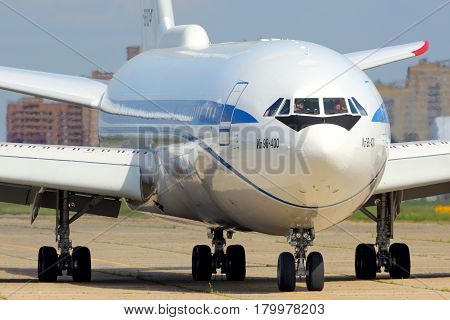 ZHUKOVSKY, MOSCOW REGION, RUSSIA - JULY 31, 2015: Ilyushin IL-96-400 of Federal Security Service shown at Zhukovsky.