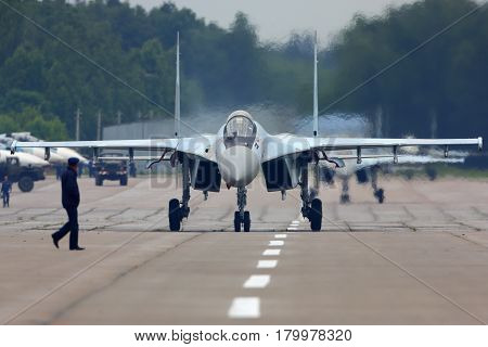 KUBINKA, MOSCOW REGION, RUSSIA - JUNE 19, 2015: Sukhoi Su-35S jet fighter at Kubinka air force base during Army-2015 forum.