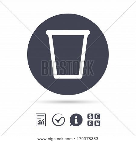 Recycle bin sign icon. Bin symbol. Report document, information and check tick icons. Currency exchange. Vector