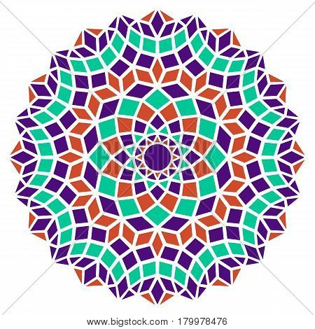 bright colorful round symmetry pattern, mandala, rosette