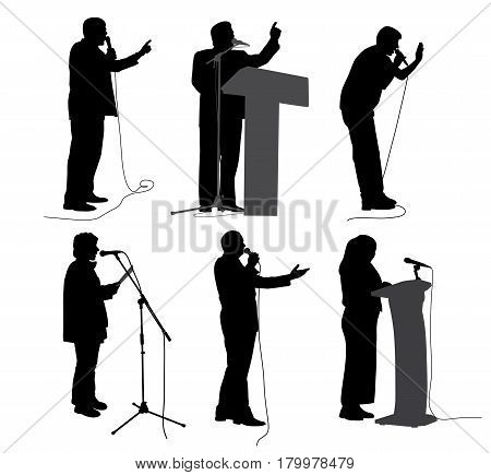 Public speaking. Motivational speech. Business speakers presenters politicians or lecturers.