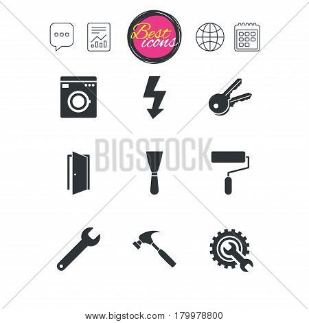 Chat speech bubble, report and calendar signs. Repair, construction icons. Electricity, keys and hammer signs. Door, washing machine and service symbols. Classic simple flat web icons. Vector