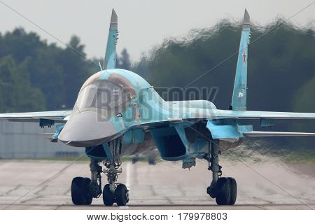 KUBINKA, MOSCOW REGION, RUSSIA - JUNE 19, 2015: Sukhoi Su-34 bomber at Kubinka air force base during Army-2015 forum, Moscow region, Russia.
