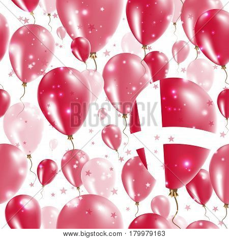 Denmark Independence Day Seamless Pattern. Flying Rubber Balloons In Colors Of The Danish Flag. Happ
