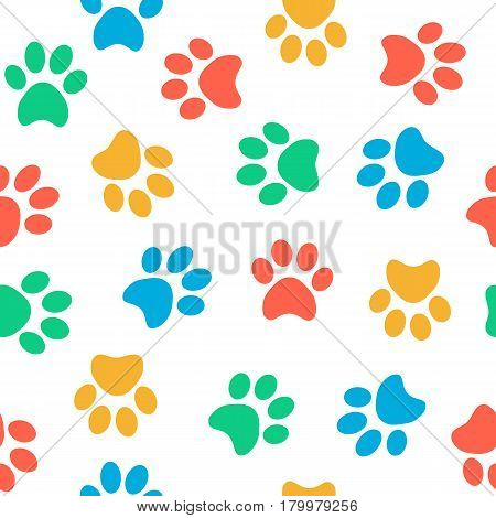 Seamless colorful animal pawprints pattern on white background