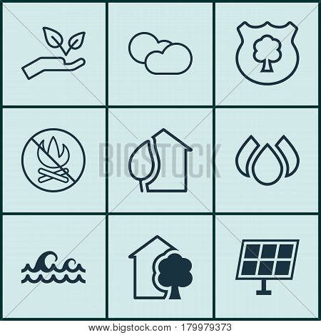 Set Of 9 Eco-Friendly Icons. Includes Timber, Cloud Cumulus, House And Other Symbols. Beautiful Design Elements.
