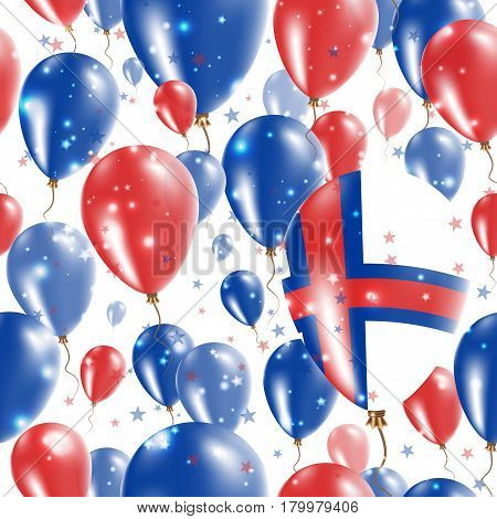 Faroes Independence Day Seamless Pattern. Flying Rubber Balloons In Colors Of The Faroese Flag. Happ