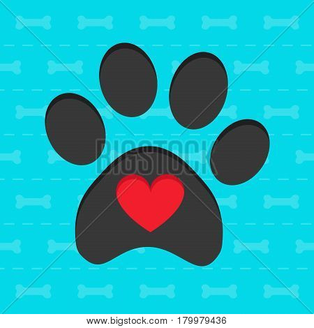 Animal pawprint with heart blue card vector illustration