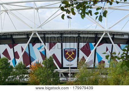 London England - October 17, 2016;  Olympic Stadium now West Ham United Football closeup with club logo home statium