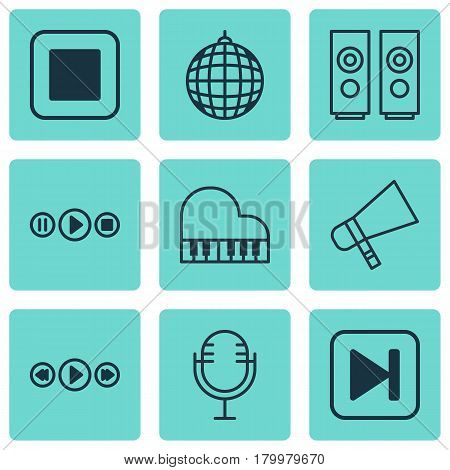 Set Of 9 Audio Icons. Includes Octave, Mike, Skip Song And Other Symbols. Beautiful Design Elements.