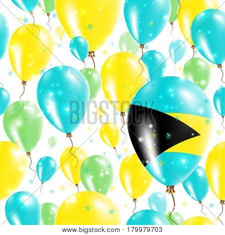 Bahamas Independence Day Seamless Pattern. Flying Rubber Balloons In Colors Of The Bahamian Flag. Ha