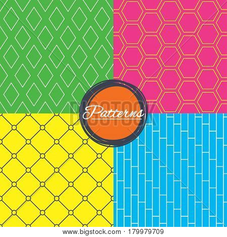 Rhombus, hexagon and grid with circles seamless textures. Linear geometric patterns. Modern textures. Abstract patterns with colored background. Vector