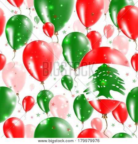 Lebanon Independence Day Seamless Pattern. Flying Rubber Balloons In Colors Of The Lebanese Flag. Ha