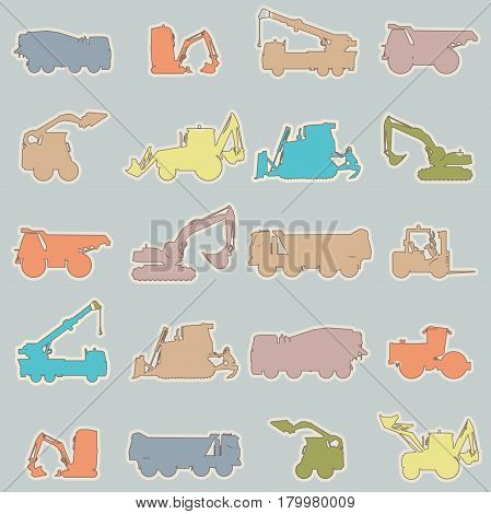 Wallpaper with construction machinery set on pink. Vector ground works wallpaper in children's room. Machine vehicles. Excavator, truck, digger, crane, bagger, mix, lorry. Heavy pavement foundation.