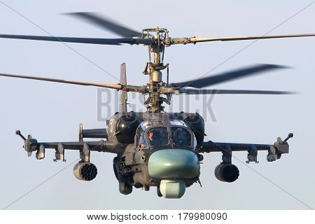 KUBINKA, MOSCOW REGION, RUSSIA - JUNE 14, 2015: Kamov Ka-52 leaving Kubinka air force base, Moscow region, Russia.