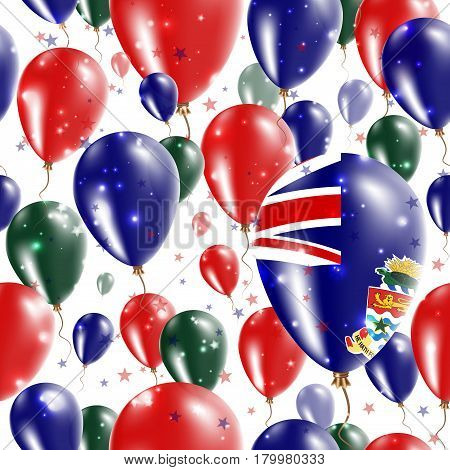 Cayman Independence Day Seamless Pattern. Flying Rubber Balloons In Colors Of The Caymanian Flag. Ha