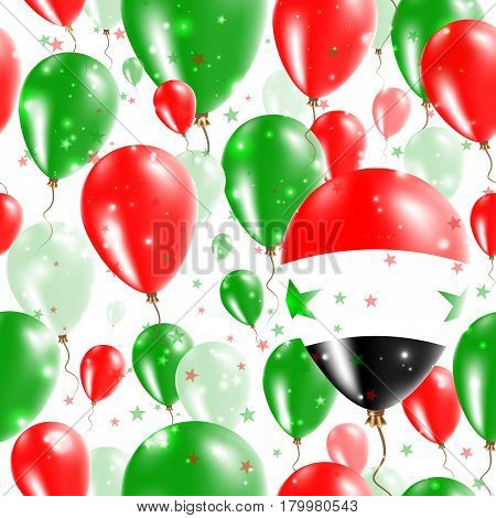 Syria Independence Day Seamless Pattern. Flying Rubber Balloons In Colors Of The Syrian Flag. Happy