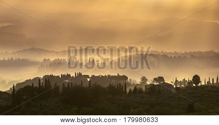 Tuscan Landscape In The Early Morning