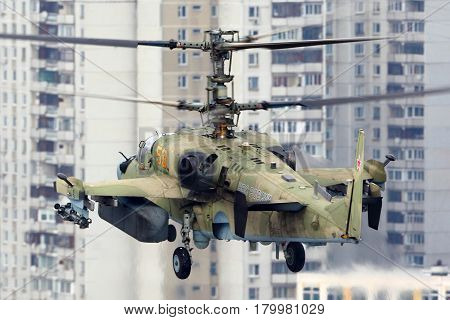 LYUBERTSY, MOSCOW REGION, RUSSIA - DECEMBER 2, 2012: Kamov Ka-52 Alligator attack helicopter pictured in Lyubertsy.