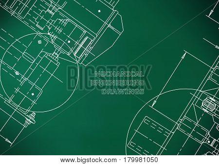Blueprints. Mechanics. Cover. Mechanical Engineering drawing. Engineering design construction. Light green