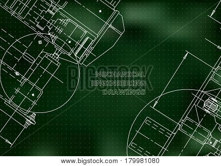Blueprints. Mechanics. Cover. Mechanical Engineering drawing. Engineering design construction. Green. Points