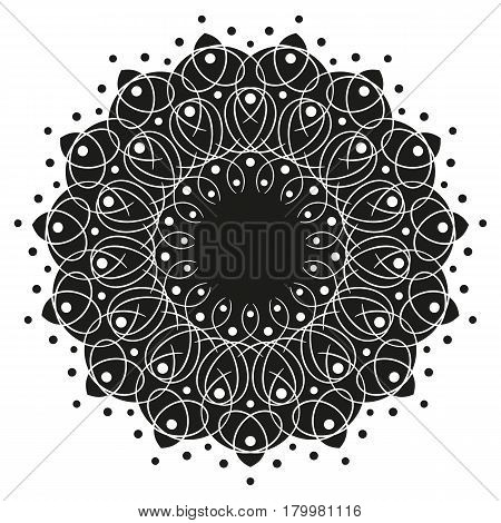 black and white round symmetry pattern, mandala, rosette