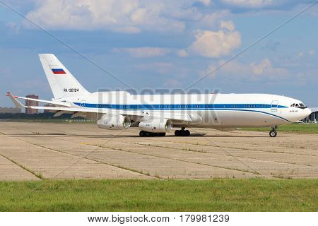 ZHUKOVSKY, MOSCOW REGION, RUSSIA - JULY 31, 2015: Ilyushin IL-96-400 of Federal Security Service shown at Zhukovsky, Moscow region, Russia