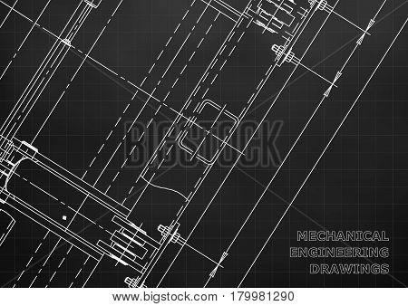 Mechanical Engineering drawing. Blueprints. Mechanics. Cover. Engineering design construction. Black. Grid