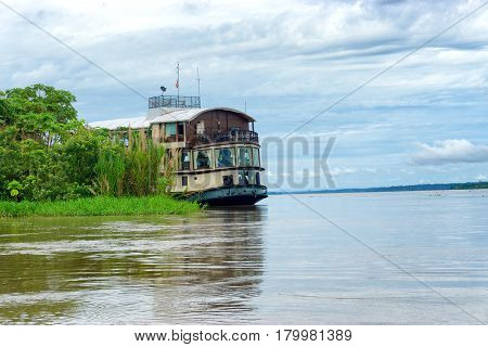 Cruise ship on the Amazon River in Peru