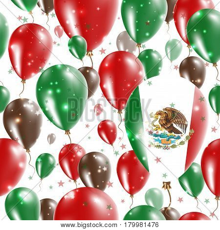 Mexico Independence Day Seamless Pattern. Flying Rubber Balloons In Colors Of The Mexican Flag. Happ